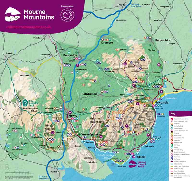 Mourne Mountains Scenic Route Map